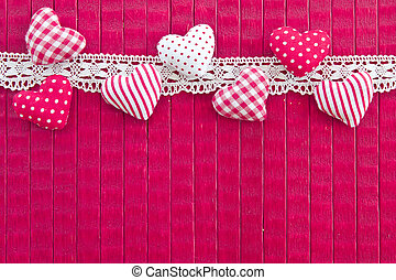 PInk background with little hearts - Pink wooden background...