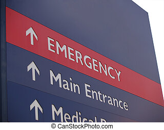 Emergency sign with isolated background