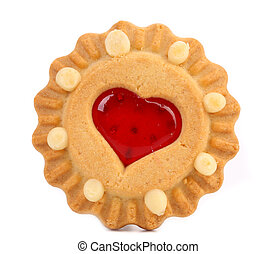 Heart shaped strawberry biscuit Close up White background