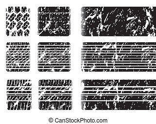 Grunge tire tread with skid mark on white background