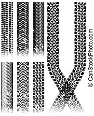 various grunge tire track collection on white background