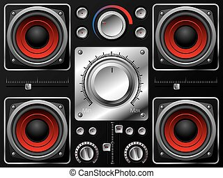 Red speakers with amplifier and knobs - Red speakers with...