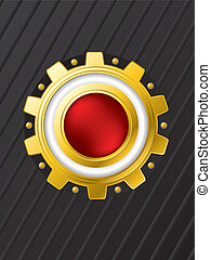 Red button with cogwheel background design