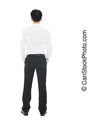 Back view of a Asian businessman isolated on white background