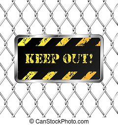 Warning plate with wired fence and white background
