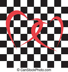 chess hearts on the chess background