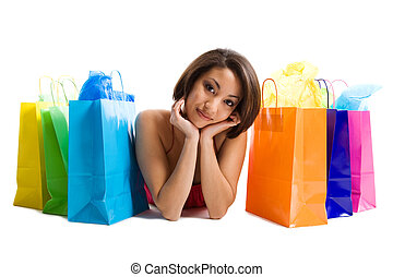 Shopping black woman - An isolated shot of a black woman...