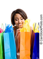 Shopping black woman - An isolated shot of a beautiful black...