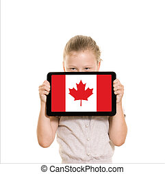 Girl holding tablet pc - Young girl holding tablet computer...