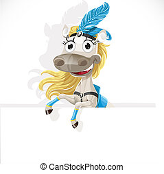 Cute circus horse hold big banner