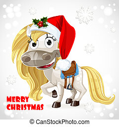 Merry Christmas card with cute white baby horse