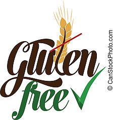 Gluten free message Isolated on a white background