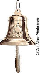 Sea bell - Classical marine brass bell with rope. Isolated...
