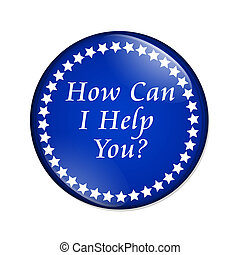 How Can I Help You button - A blue button with words How Can...