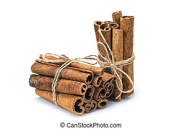 Cinnamon sticks isolated on a white background - Cinnamon...