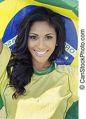 Brazil soccer football pride - Happy smiling Brazil soccer...