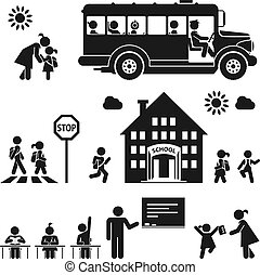 School days - Children go to school Pictogram icon set