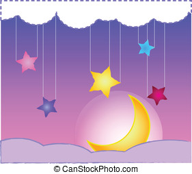 Starry Sky - Stars, Moon and night