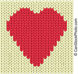 Knitted heart - Knitted textile decorative valentine heart