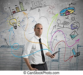 Businessman at work with tablet - Concept of a businessman...