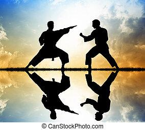 Karate at sunset - Karate silhouette
