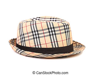 Checked hat. - Checked hat isolated on a white background.