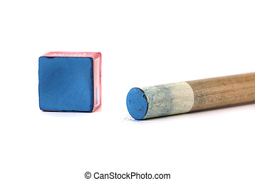 Cue stick with chalk block White background
