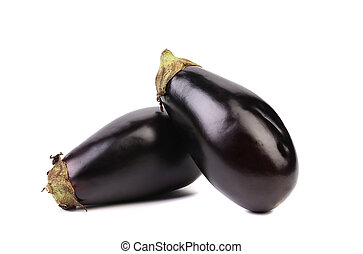 Two black eggplants. - Two black eggplants isolated on a...