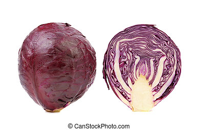 Red cabbage and slice - Red cabbage and slice isolated on a...