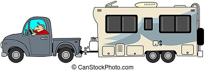 Truck and trailer - This illustration depicts a man driving...