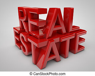 Real Estate 3d in red over grey background