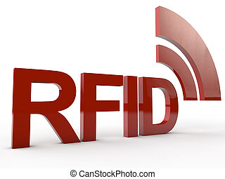 red RFID Tag  - Red RFID Word with symbolic radio waves