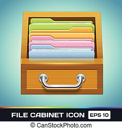 File Cabinet with Folders Icon - Vector File Cabinet with...
