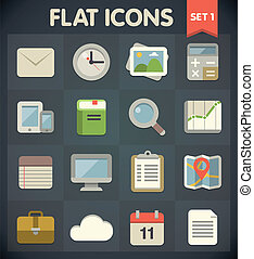 Flat Icons Set 1 - Universal Flat Icons for Web and Mobile...