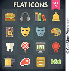 Flat Icons Set 10 - Universal Flat Icons for Web and Mobile...
