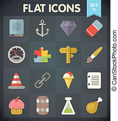 Flat Icons Set 11 - Universal Flat Icons for Web and Mobile...