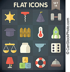 Flat Icons Set 14 - Universal Flat Icons for Web and Mobile...