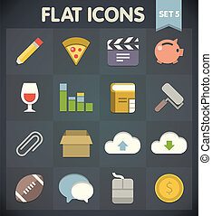 Flat Icons Set 5 - Universal Flat Icons for Web and Mobile...