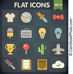 Flat Icons Set 8 - Universal Flat Icons for Web and Mobile...