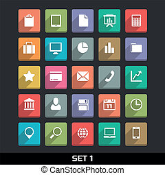 Icons With Long Shadow Set 1 - Trendy Vector Icons With Long...