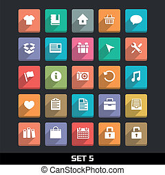 Icons With Long Shadow Set 5 - Trendy Vector Icons With Long...