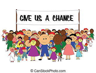 give us a chance - large group of kids holding banner for...