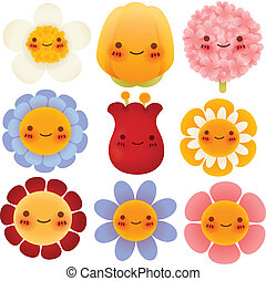 Collection of Cute Flowers - Vector File EPS10
