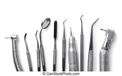 Dental equipment - Row of various dental tools isolated on...