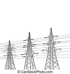 Electricity pole over white.  illustration.