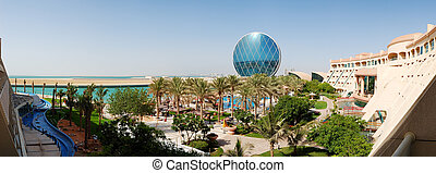 The panorama of luxury hotel and circular building, Abu...