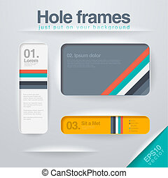 Vector design Frames template. Use for infographics, web, design etc. Banner, corner, info. Square holes in any background - just drop them on the layout.