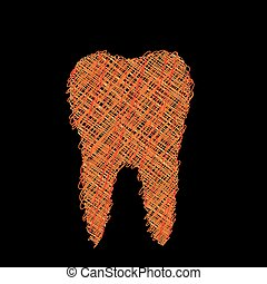 dente, gráfico, odontólogo