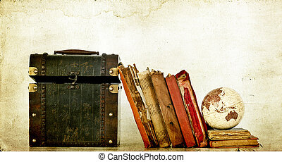 Old box, vintage books and globe - Old box, books and earth...