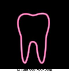 Neon tooth icon